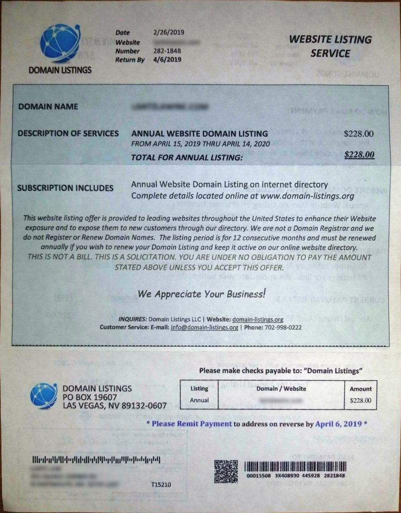 Front of Domain Listings scam letter